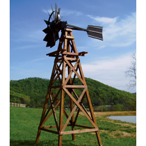 16' Ornamental Wood Windmill w/Galvanized Head, No Aeration